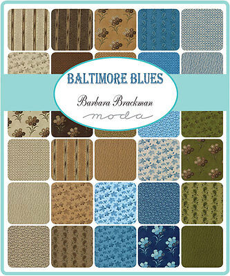 Patchwork/quilting Fabric Moda Charm Squares/packs - Baltmore Blue