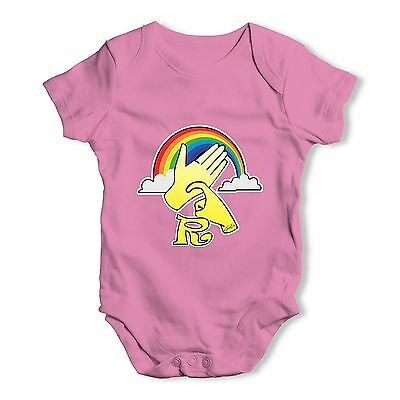 Twisted Envy Sign Language Letter R Baby Unisex Funny Baby Grow Bodysuit