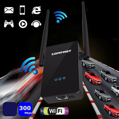 300Mbps Wifi Repeater Router Wireless AP Range Signal Extender Booster10dBi NEW