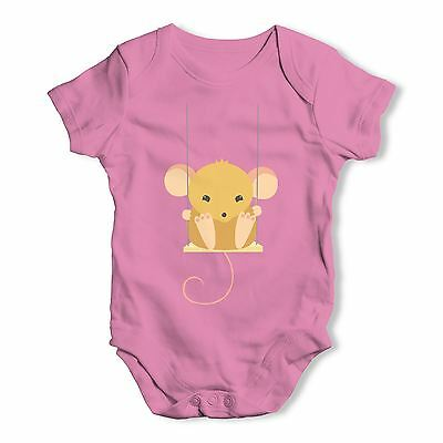 Twisted Envy Mouse On A Swing Baby Unisex Funny Baby Grow Bodysuit