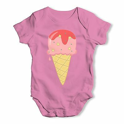 Twisted Envy Yummy Strawberry Ice Cream Baby Unisex Funny Baby Grow Bodysuit