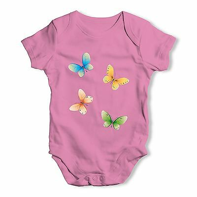 Twisted Envy Bright Butterflies Baby Unisex Funny Baby Grow Bodysuit