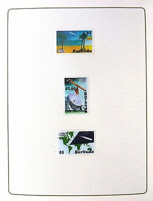 BARBUDA 1986 Halley's Comet (3) Imperf Proofs in Format Folder FP8437