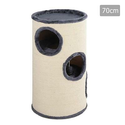 Pet Cat Play Climbing Claw Scratching Post Pole Tree 3 Level Hiding Bed Condo