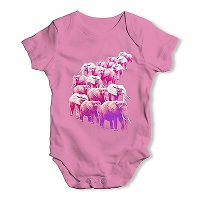 Twisted Envy Pink Elephants On Parade Baby Unisex Funny Baby Grow Bodysuit