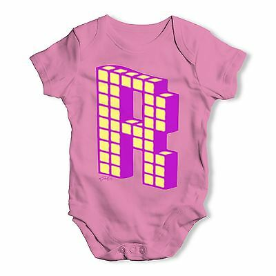 Twisted Envy Block Alphabet Letter R Baby Unisex Funny Baby Grow Bodysuit