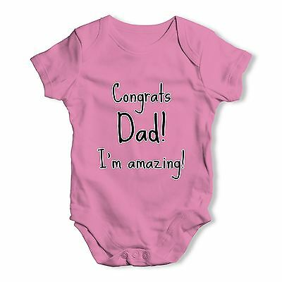 Twisted Envy Congrats Dad I'm Amazing Baby Unisex Funny Baby Grow Bodysuit