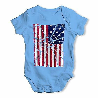 Shattered Distressed Stars And Stripes Baby Unisex Baby Grow Bodysuit