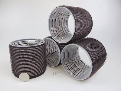 4 HUGE BLACK XXL LARGE JUMBO CURL CLING HAIR ROLLERS 72mm Adds Top Layer Volume