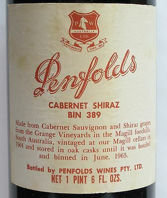 Penfolds Bin  389 1964, Rare Vintage, 'grange Stable'  Red Wine.