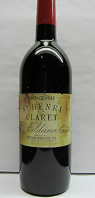 Penfolds St Henri  Vintage 1963 ,extremely Rare 'grange Stable'  Red Wine.
