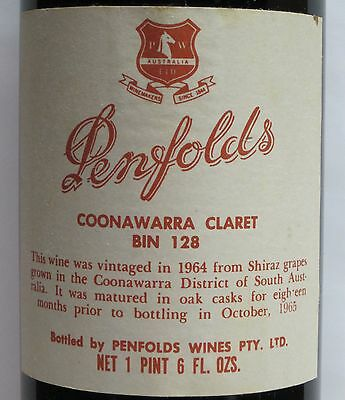 Penfolds Bin  128  1964, Rare Vintage, 'grange Stable'  Red Wine.