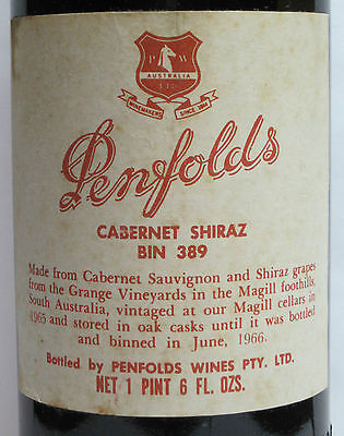Penfolds Bin  389 1965, Rare Vintage, 'grange Stable'  Red Wine.