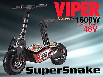 Electric Scooter 1600W 48V Viper SuperSnake New 2017 Model, Terrain Tyres,