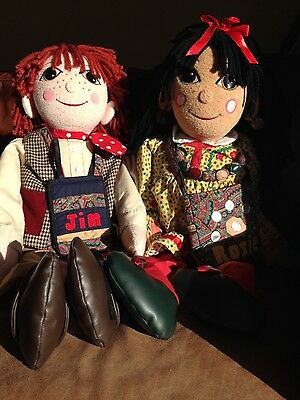 "Vintage LARGE 30"" Rosie and Jim dolls complete with accessories CANAL BOAT EUC"
