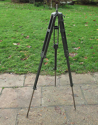 Original Vintage Mid Century Old Wooden Army Tripod Stand Surveyors Light