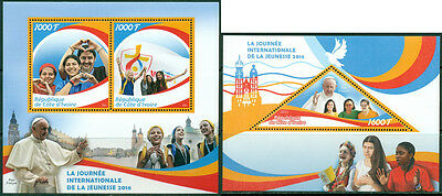 International Youth Day Pope Francis Vatican Religion Ivory Coast MNH stamp set
