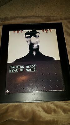 Talking Heads Fear Of Music Rare Original Promo Poster Ad Framed!