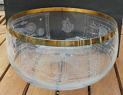 Hand Engraved Large Masonic Bowl and  5 Glasses