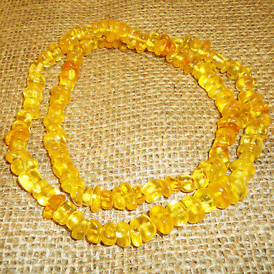 41gr! Antique Genuine Baltic Egg Yolk Amber Necklace. Very Beautiful! 121