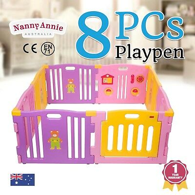 New Baby Kids Toddler 8 Pc Plastic Interactive Playpen with Safety Gate | Pink