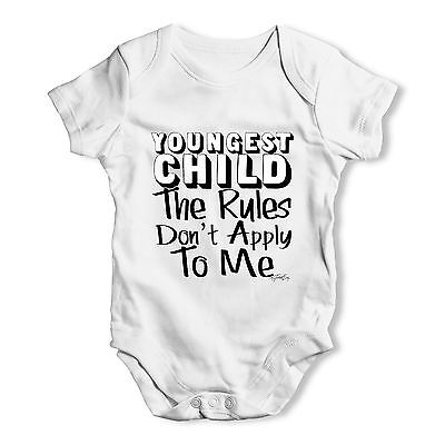 Youngest Child Rules Don't Apply To me Baby Unisex Funny Baby Grow Bodysuit