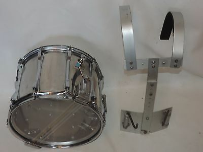 """Vintage Ludwig 14"""" Stainless Steel Snare Drum with Carrier Blue Olive # 1632677"""