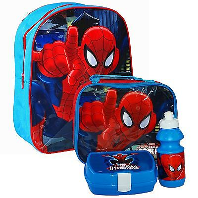 Spiderman Backpack Bag Lunch Bag Case with Sandwich Box and Drinking Bottle Set