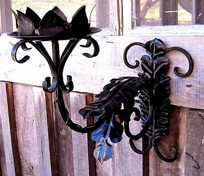 Large Vintage Ornate Wrought Iron Wall Sconce Home & Garden Pillar Candle Holder