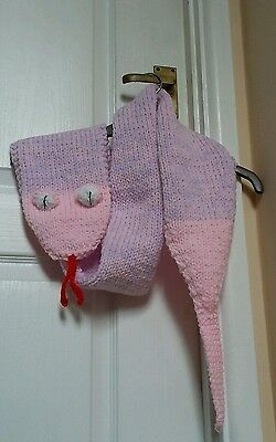 """Kids Handknitted snake scarf in pink/lilac, 60""""×6"""" (including tail)..Brand New."""