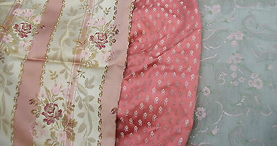 Bundle of Vintage French Fabric Pieces material Blocks Woven Lisere Silks