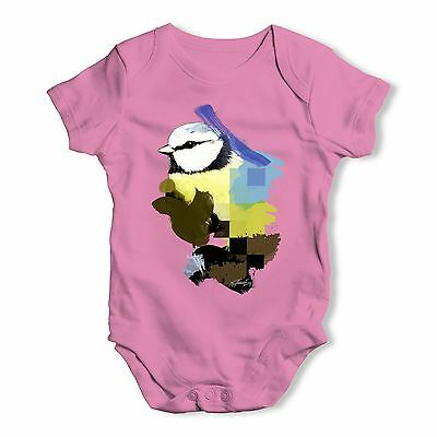Watercolour Pixel Blue Tit Bird Baby Unisex Funny Baby Grow Bodysuit