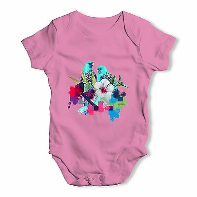 Watercolour Pixel Birds With Flowers Baby Unisex Funny Baby Grow Bodysuit
