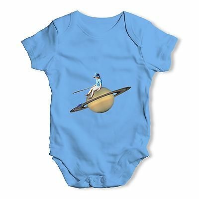 Twisted Envy Fishing On Saturn Baby Unisex Funny Baby Grow Bodysuit
