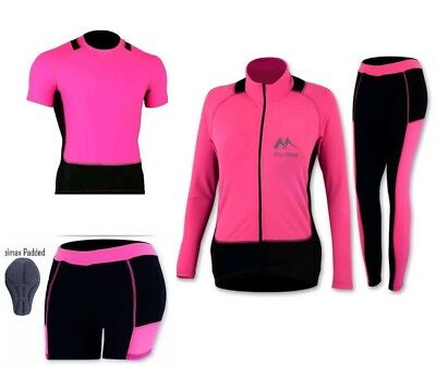 Ladies Cycling Jersey Top Tights Winter Thermal Legging Padded Trouser Bicycle