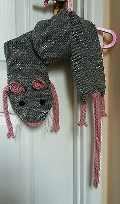 "Kids Knitted mouse scarf in sparkle grey wool 45""×5"" (including tail) Brand New."