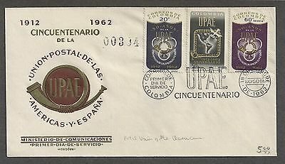 Colombia 1962 First Day Cover Sc. 749, C445-C446 UPAE 50th Bogata