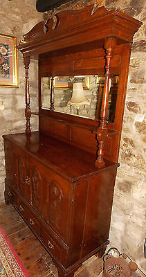 Antique oak mirror back SIDEBOARD Late Victorian carved cupboards drawers 140cms