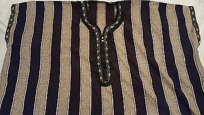 Men's Black and Gold thobe jubba kaftan dish dash Size 58-60 New