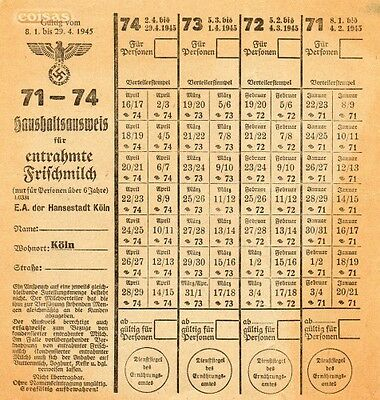 Germany Colonia Koln Rations Coupons Milk 1945