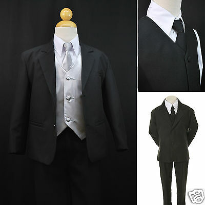 Baby Boys Formal Party Black 7-pc Suit Set Silver Vest Tie Outfits Newborn to 20