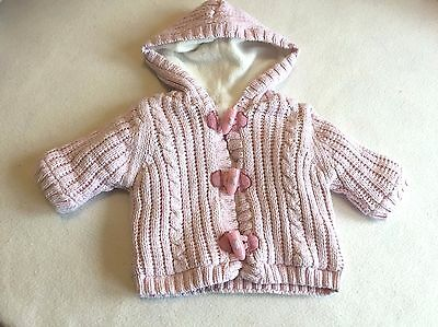 Baby Girls Clothes - Pretty Newborn Fleece Lined Knitted Hoodie Jacket