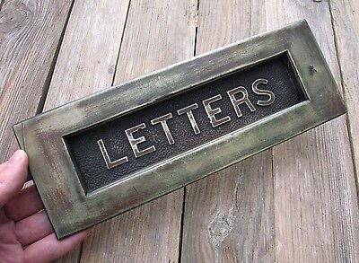 Old Large Reclaimed Solid Brass Letter Box Plate / Door Mail Slot