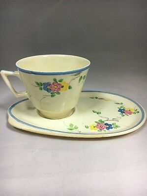 Lovely Vintage Floral Hand Painted Tennis Cup and Saucer