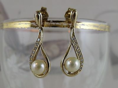1990s Vintage 9 Carat Yellow Gold  Pearl and White Sapphire Earrings