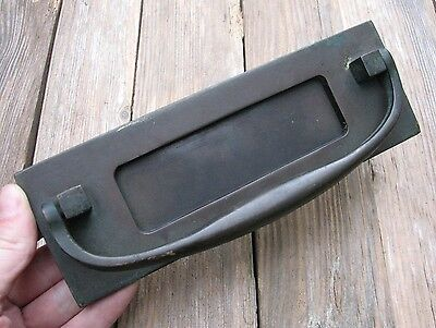Old Reclaimed Bronze / Brass Letter Box Plate / Mail Slot / with Door Knocker