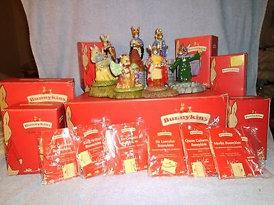 Royal Doulton Bunnykins Arthurian Legend Collection, 6 Figurines + Display base