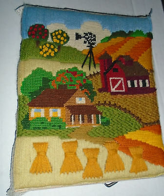 Vintage Needlepoint Crewel Wall Art Completed - Farm Barn Orchard Windmill 10x8