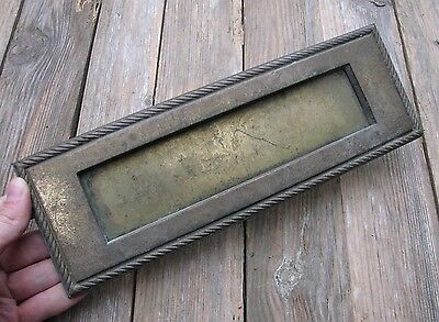 Large Vintage Reclaimed Solid Brass Letter Box Plate / Door Mail Slot