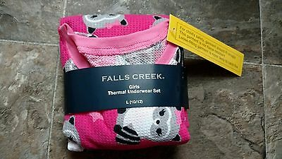 Brand New Girls Falls Creek Thermal Underwear Set Size Large 10/12 Raccoons Cute